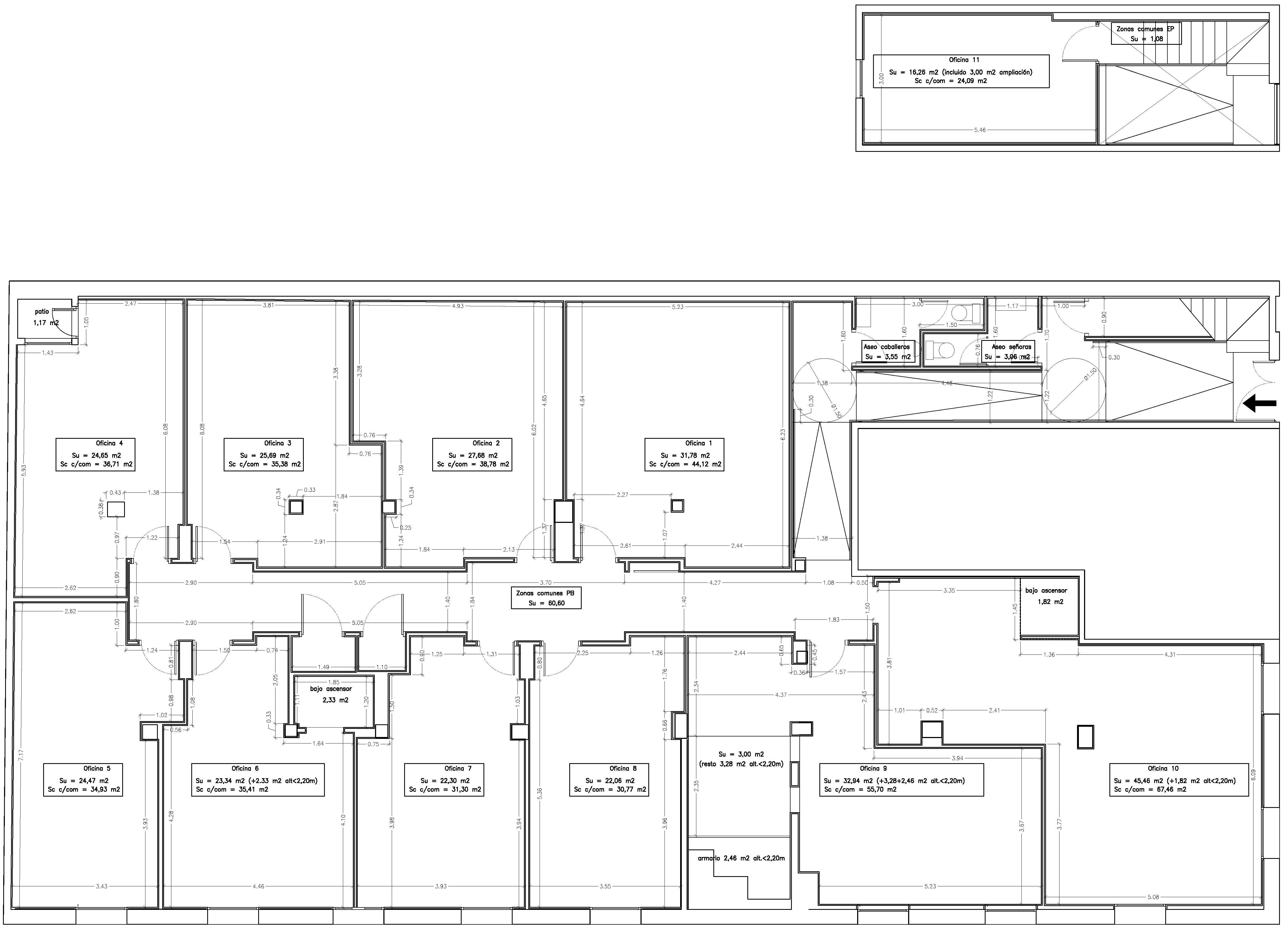 Centro breta a oficinas en alquiler for Planos de oficinas administrativas